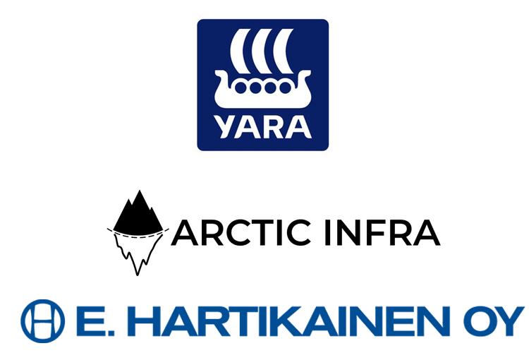 Linkityn INFRA-alan asiakkaat: Yara, Arctic Infra ja E.Hartikainen Oy logot