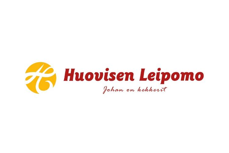 Asiakas: Huovisen leipomo punakeltainen logo valkoisella taustalla